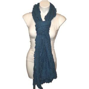 Nordstrom blue ruffled lace-like scarf boho